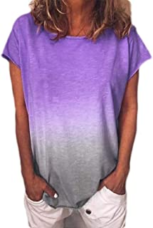 GUOCAI Women's Gradient Plus Size Long Sleeve O-Neck Tops T-shirt Blouse