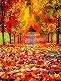 Pintura por números paisaje pintado a mano arte de pared otoño pintura al óleo por kits de números decoración del hogar A6 40x50cm