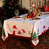 Waterproof Christmas Tablecloth Rectangle 60x84 Inch - Holiday Decoration Printed New Year's Eve...