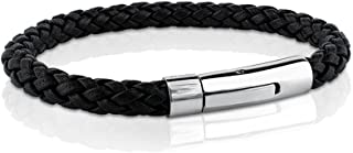 MERIT OCEAN Black Genuine Leather Bracelet Rope for Men Wrist Band Stainless Steel Automatic Button Clasp 8.6 Inch