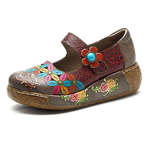 Socofy Wedges Sandalen Damen Bunte Blume Vintage Slip-on Leder Schuhe Plateau Sandale, (Dunkelgrau #6), 37 EU