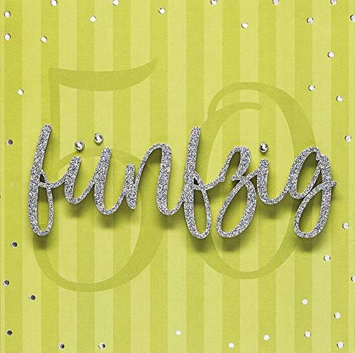 Geburtstagskarte zum 50. Geburtstag Lettering - fünfzig - 15 x 15 cm