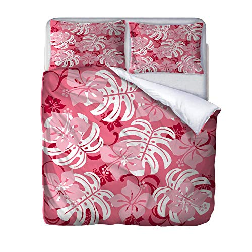 SUZIHUA Double Duvet Cover With 2 Pillowcases,Pink Leaves,With Zipper Closure In Polyester Printed Quilt Cover Bedding Set 3Pcs,Quilt Cover Bedding Set 3Pcs