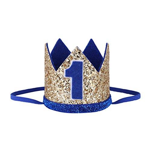 Freebily Bandeau Enfant Fille Garçon Couronne Royale Princesss Prince Tiara Diadème Chapeau Imprimé One / 1 Anniversaire Mariage Soiree Noël Fête (Taille unique 1, Or 1 Bleu)