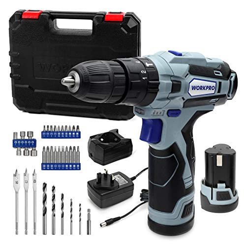 WORKPRO 12V Cordless Drill Driver Kit, Combi Drill with 2 Li-Ion Batteries 2000mAh, 35pc Accessories, Fast Charger, 18+3 Torque Setting, 2-Speed, 3/8'' Chuck, Carrying Case, Ideal for Home and DIY