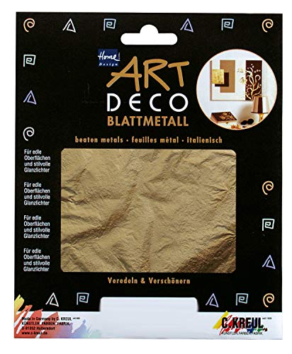 KREUL 99401, 6 hojas en oro, aprox. 14 x 14 cm, para decorar madera, vidrio, papel, lienzo, poliestireno, cera, cerámica, metal, cuero y piedra, dorado