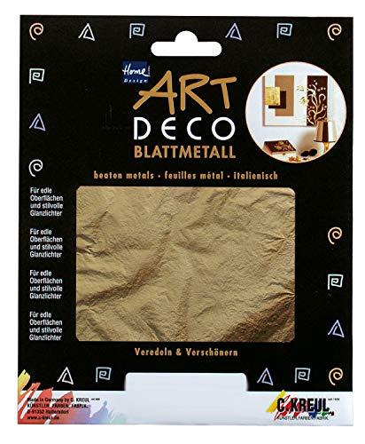 Kreul 99401 - Blattmetalle, 6 Blatt in gold, ca. 14 x 14 cm, zum Veredeln auf Holz, Glas, Papier, Leinwand, Styropor, Wachs, Keramik, Metall, Leder und Stein