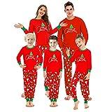Pijamas Mujer Camisón Conjunto De Pijamas para Fiesta Familiar Otoño Pijamas De Manga Larga para Mujer Estampado De Navidad para Padres E Hijos Conjunto De Ropa De Dormir para Hombre Rojo