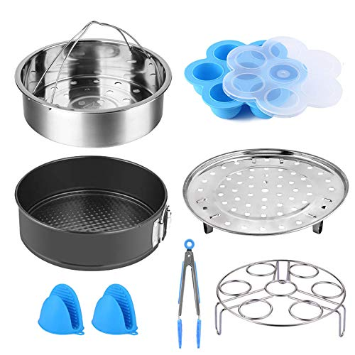 Pressure Accessories Set 8 Pcs Pressure Cooker Accessories Fit 5 6 8Qt Steamer Basket Springform Pan, Egg Bites Mold, Egg Steamer Rack, Kitchen Tongs, Silicone Oven Mitts