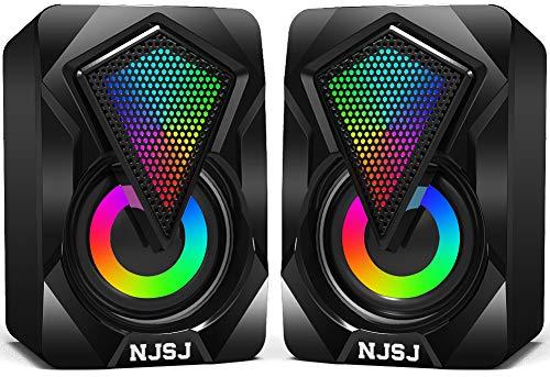 Computer Speakers,Mini Desktop Speaker for PC with Colorful LED Light...