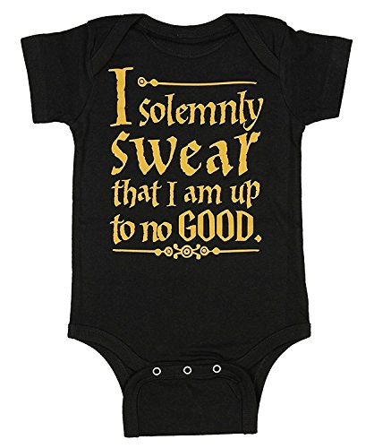 Harry Potter Unisex Baby Up To No Good One Piece Bodysuit - Black (12 Months)