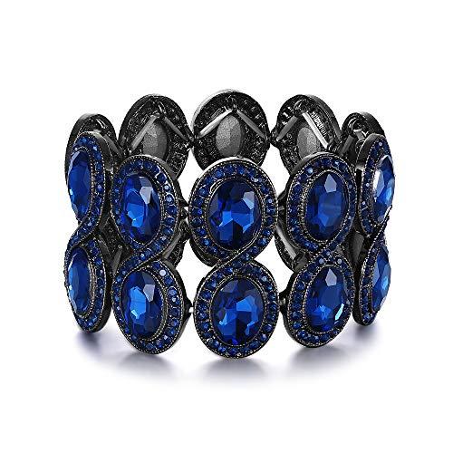 EVER FAITH Damen Armband Strass Kristall Art Deco Hochzeit Braut Elastisch Stretch Armreif Blau Schwarz-Ton