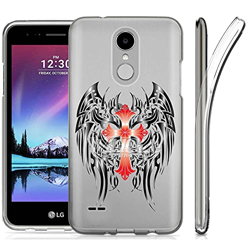 VIBECover Slim Case Compatible for LG X210,Aristo2/2+/3/3+,Phoenix 3/4,Tribute Dynasty/Empire, Total Guard Flex TPU Cover, Celtic Cross Wing