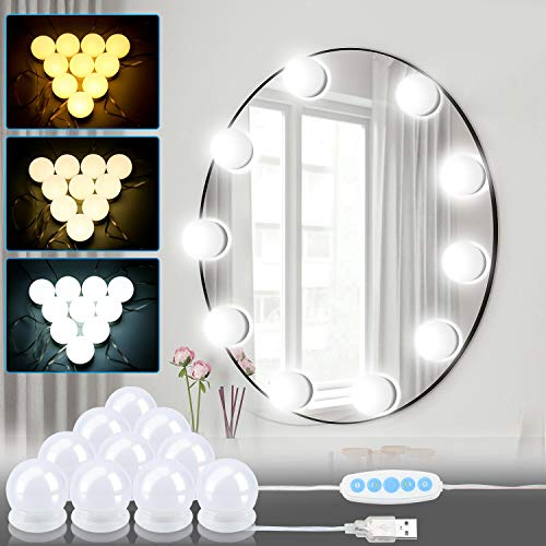 Hengda LED Spiegelleuchte,Hollywood Stil Schminklicht,Schminktisch Leuchte,Spiegellampe mit 3 Farbmodi (10 Dimmbar Glühbirne),für Gästetoilette, Fotostudios, Friseursalon, Dekoration.
