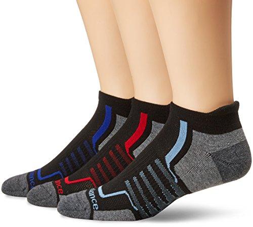 New Balance Performance Low Cut Tab Socken (3 Paar), Herren, Socken, N686-3, Schwarz/Grau/Rot/Blau, L