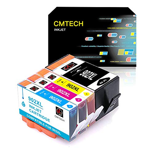 CMTECH Remanufactured Ink Cartridges Replacement for HP 902 XL 902XL with Updated Chip Work for HP OfficeJet Pro 6968 6978 6962 6958 6954 6960 6970 6979 Inkjet Printer (Black, Cyan, Magenta, Yellow)