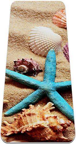 XIANWEI Playa de Verano Estrella de Mar Estrella de Mar Estera de Yoga Gruesa Gruesa de Yoga sin Deslizamiento para Las Mujeres; Mats de Alfombras de Ejercicio de Niñas Alfombras de Pilates Suaves, (
