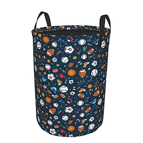 Cesto de lavandería redondo,Muchos iconos de fútbol y béisbol de baloncesto Campeón de fondo,cesto de lavandería plegable impermeable con cordón,19'x14'