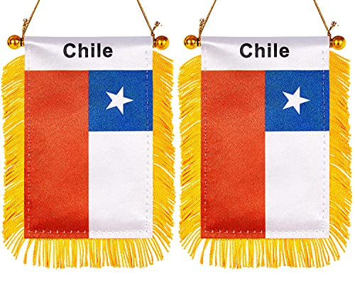 ZXvZYT 3 X 5 Inch Chile Window Hanging Flag Chilean Small Mini Car Flags Banners Rearview Mirror Decoration - with Suction Cup & Golden Fringy Banner(2 Pack)