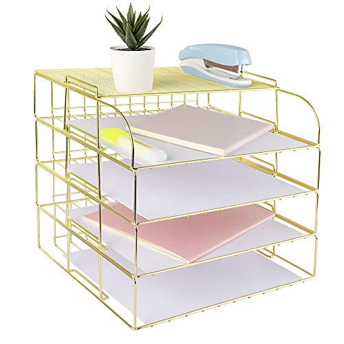 Spacrea Letter Tray, 4 Tier Desk Organizers and Accessories, Stackable Paper Tray Organizer Desk File Organizer with 1 Upper Display Shelf for School Home Office Supplies (Gold)
