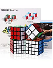 Roxenda Speed Cube Bundle, Magic Cube Juego de 2x2x2 3x3x3 4x4x4 5x5x5 Speed Puzzle Cube con Caja de Regalo, Tutorial Secreto para Speed Cubes