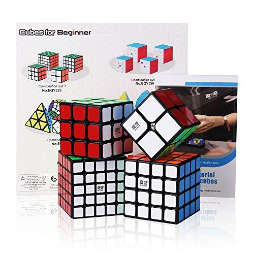 ROXENDA Speed Cube Bundle, Cubos de Velocidad de 2x2 3x3 4x4 5x5 Qiyi Cube con Caja de Regalo, Tutorial Secreto para Speed Cubes (T1)