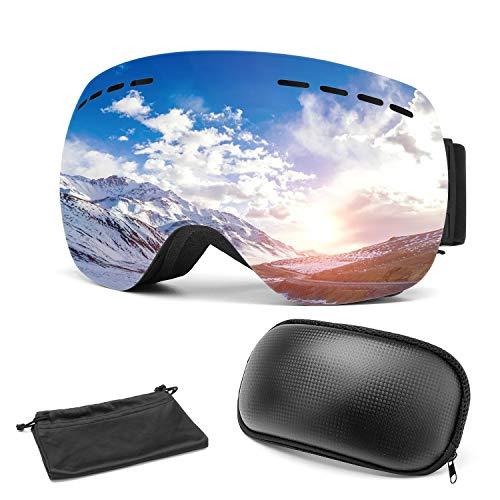 Omasi Gafas de esquí, Máscara Gafas Esqui Snowboard para Hombre Mujer Adultos Anti Niebla Gafas de Esquiar OTG Protección UV Lente Intercambiable