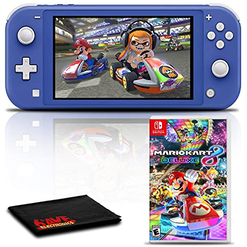 Nintendo Switch Lite (Blue) Gaming Console Bundle with Mario Kart 8 Deluxe