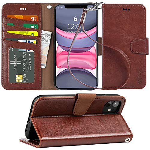 Arae Case for iPhone 11 PU Leather Wallet Case Cover [Stand Feature] with Wrist Strap and [4-Slots] ID&Credit Cards Pocket for iPhone 11 6.1 inch 2019 Released (Brown)