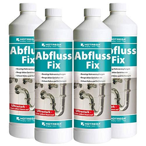 HOTREGA Abfluss Fix Konzentrat 1 Liter Sets - Abflussreiniger, Rohrreiniger, freier Abfluss, Mengen:4