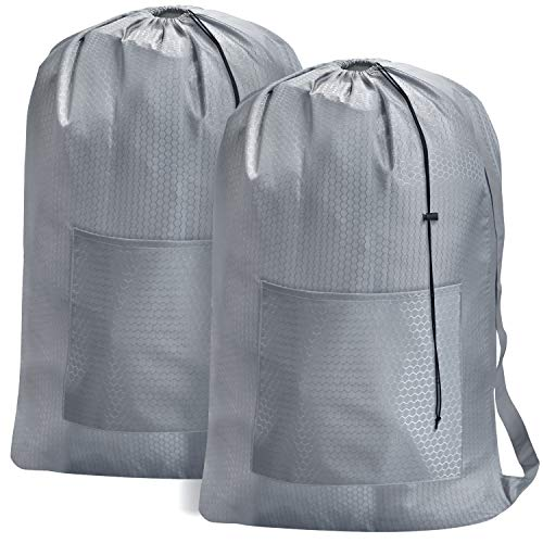 Nylon Laundry Bag 28 x 40 Inches, Machine Washable Dirty Clothes Organizer with Locking Drawstring Closure, Fit a Laundry Hamper or Basket for College, Travel, Laundromat, Apartment (Grey) 2 Pack