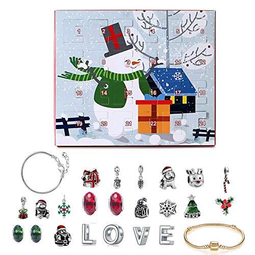 Mooderff Adventskalender voor 24 dagen, aftelkalender, doe-het-zelf sieraden, geschenkdoos, armband, halsketting, accessoireset