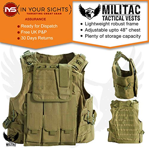 Militac, Delta, gilet tattico, ideale per softair e paintball, Tan