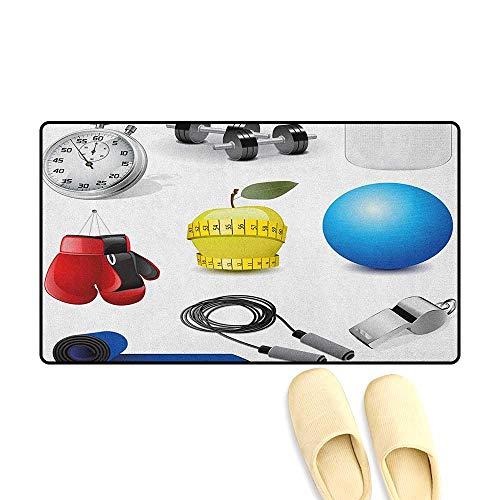 zojihouse Fitness-Fußmatte, Muster, Muskel-Muster, für Mann und Frau, Silhouetten, für Hanteln, Fitnessstudio, Gesundheit, Kraft, Aktivität, Orange/Weiß 24