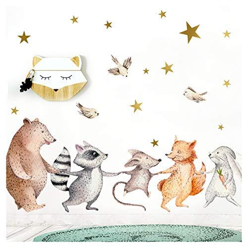 Little Deco Kinderzimmer Wandtattoo Fuchs Hase Bär I 84 x 53 cm (BxH) I Sterne Mond Babyzimmer Aufkleber Wandaufkleber Klebeposter Stickers DL207-27