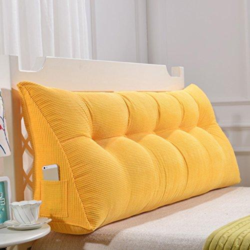 MMM- Triangle Coussin/oreiller Polyester Double Cheveux Doux Cas Grand Lit Oreiller Dossier Simple Moderne Lavable (Couleur : Le jaune, taille : 120cm(4 buckle))