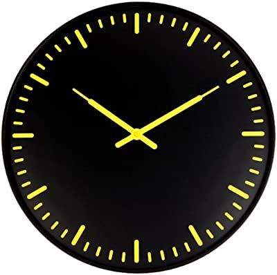 Kikkerland Swiss Station Ultra Flat Wall Clock, Black