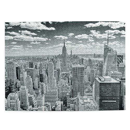 Rompecabezas con Imágenes 500 Piezas,NUEVA YORK El horizonte de Nueva York dominado por el Empire State Building,Juego Familiar Arte de Pared Regalo para Adultos,Adolescentes,Niños,20.4' x 15'