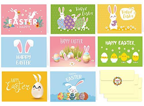 Osterkarten Set mit Umschlag, 16 Postkarten zu Ostern, Schön Grußkarten Klappkarten Unterschiedliche Motive je 2 Stück