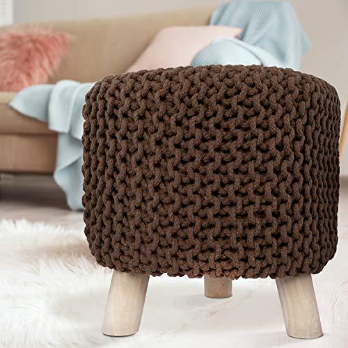 MyShop24h Sitzhocker Sitzpouf Fußhocker Holzfüßen Baumwollüberzug Handarbeit Strick-Design Braun