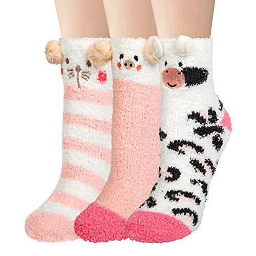 Justay Calcetines Mujer Invierno Divertidos Suaves Esponjosos Patrón Animal Lindo Casa Cálidos Calcetines Cómodos Elásticos Navidad Calcetines 3 pares