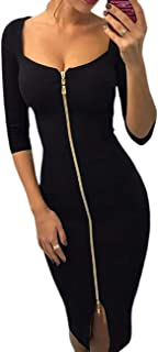 Ivrose Women Sexy Square Neck Half Sleeve Zipper Solid Color Bodycon Dress