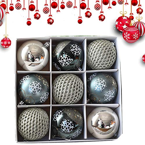 BHAHFL Christmas Baubles 80mm Christmas Tree Decoration Ornaments Pendants 9pcs Shatterproof Balls Large Hanging Ball for Xmas Hanging Decorations Festival Holiday Wedding Party Decoration,Gray