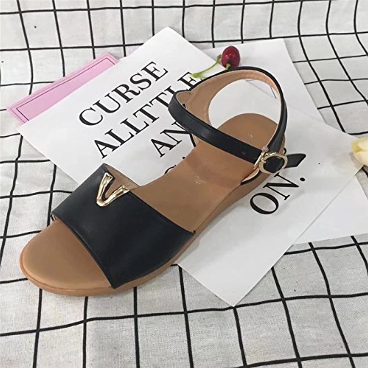 LHJY New Sandals Female Sandals Low Beach Sandals Rome shoes Fashion Casual Students