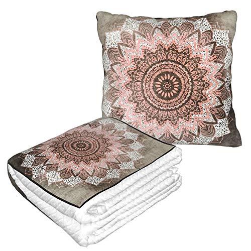Manta de almohada de terciopelo suave 2 en 1 con bolsa suave Bohochic Mandala funda de almohada para el hogar, avión, coche, viajes, películas