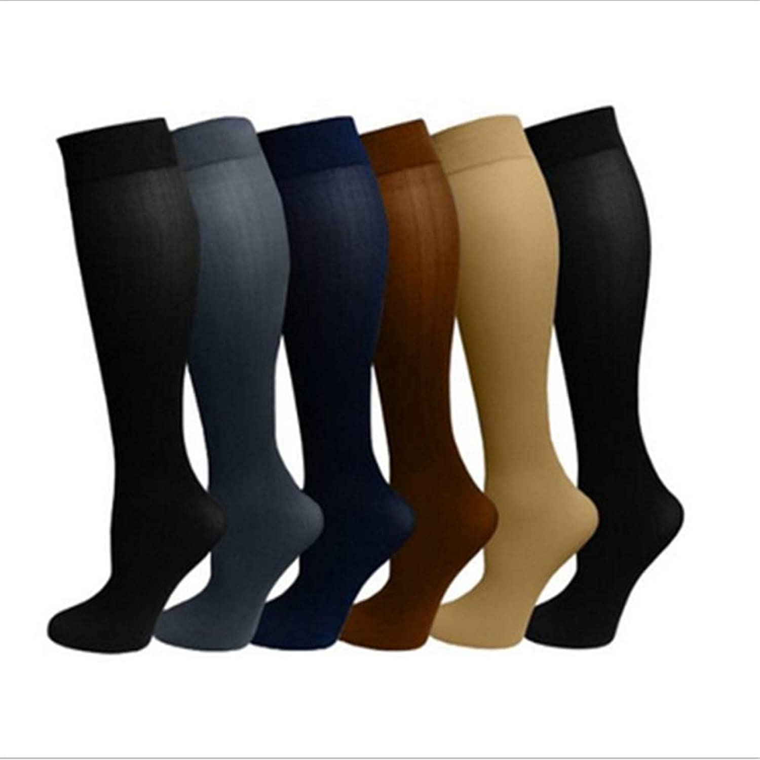 Graduated Compression Socks Sports Compression Socks Pack of 6 Pairs Stockings for Men Women Running Athletic Edema Diabetic Varicose Veins Travel Pregnancy Shin Splints Calf Compression Sleeve