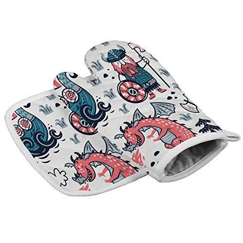 Ofenhandschuhe und Topflappen, nahtloses Muster mit Wikinger-Drachen und Schiff, hitzebeständig, rutschfeste Handschuhe zum Kochen, Backen, Grillen
