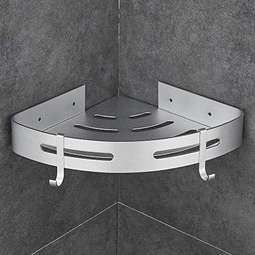 Gricol - Estante de ducha triangular para pared (aluminio, autoadhesivo, sin daños), color plateado