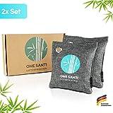 ONE SANTI Geruchsneutralisierer und Raumentfeuchter mit Bambus Aktivkohle - Umweltfreundlicher Luftentfeuchter Auto | Lufterfrischer Auto (2X 200g (2er Pack))