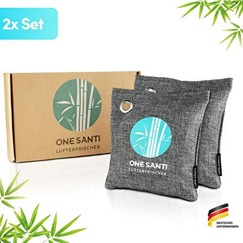 ONE SANTI Geruchsneutralisierer und Raumentfeuchter mit Bambus Aktivkohle - Umweltfreundlicher Luftentfeuchter Auto   Lufterfrischer Auto (2X 200g (2er Pack))